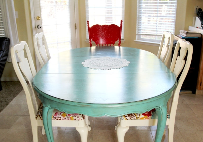 Colorful Painted Dining Table Inspiration Throughout Blue Dining Tables (Image 9 of 25)