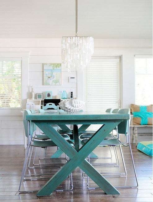 Colorful Painted Dining Table Inspiration Within Green Dining Tables (Photo 11 of 25)