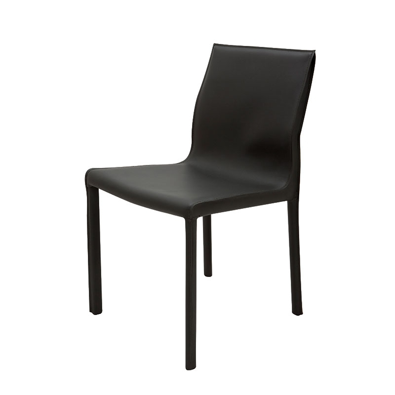Colter Modern Leather Dining Chair Black Pertaining To Black Dining Chairs (Image 7 of 25)