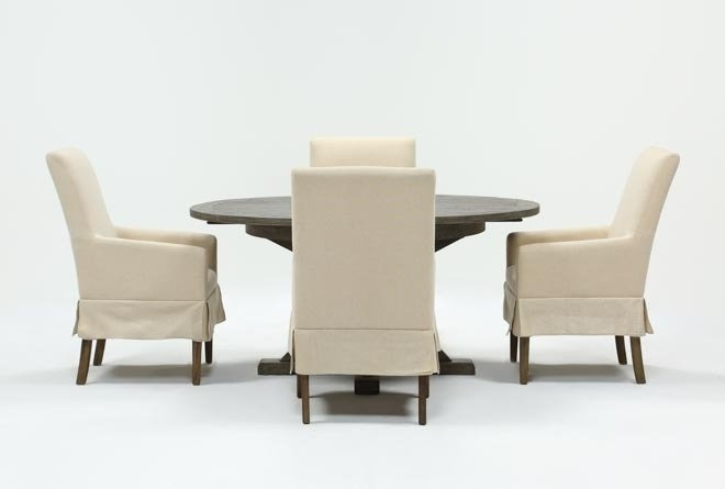 Featured Image of Combs 5 Piece 48 Inch Extension Dining Sets With Pearson White Chairs