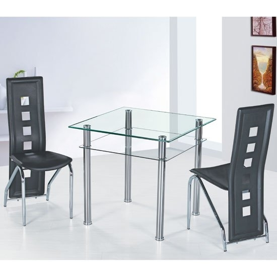 Como Clear Glass Dining Table And 4 Black Siena Dining Inside Como Dining Tables (Image 7 of 25)
