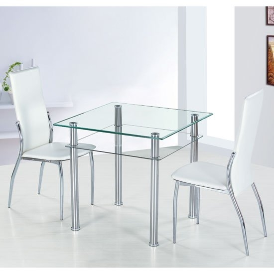 Como Square Clear Glass Dining Table And 2 Ivory Pisa Intended For Pisa Dining Tables (Image 4 of 25)
