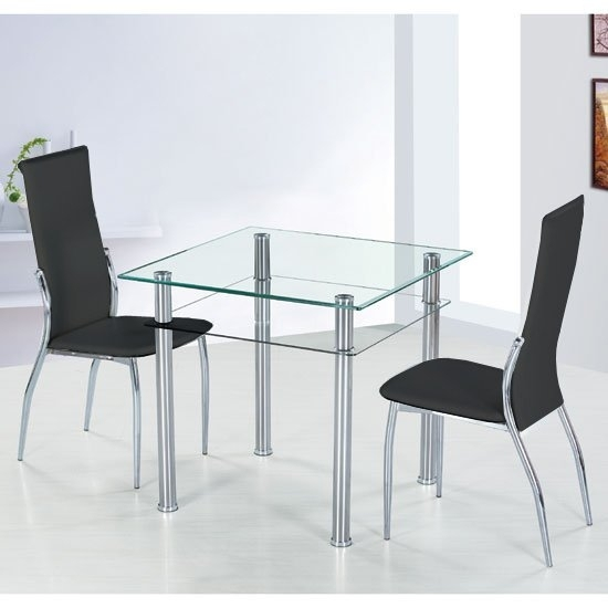 Como Square Glass Dining Table And 4 Black Pisa Dining For Como Dining Tables (View 3 of 25)