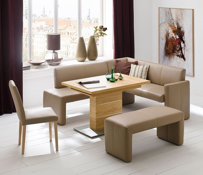 Compact Bench Dining Set | Wharfside Luxury Furniture Regarding Compact Dining Sets (Image 2 of 25)