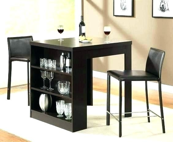 Compact Dining Table Set Tables For Small Spaces With Storage Shelf Regarding Compact Dining Tables (Image 6 of 25)