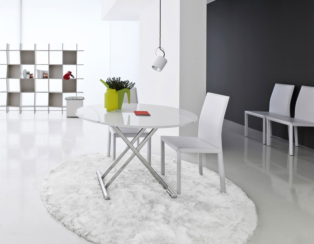 Compar Simple Extending Round Dining Table In High Gloss Or Glass In Round High Gloss Dining Tables (View 18 of 25)