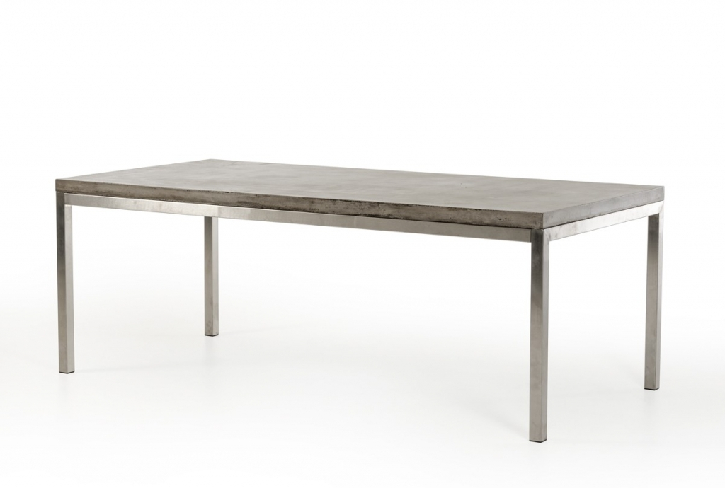 Concrete Chrome Rectangular Dining Table | Modern In Chrome Dining Tables (View 10 of 25)