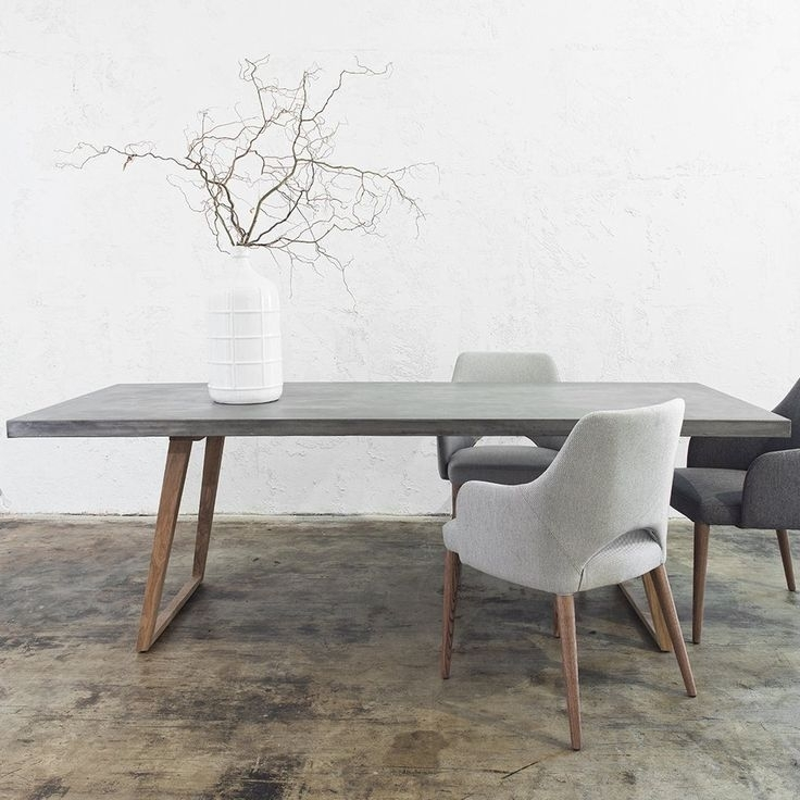 Concrete Dining Table Scandi Teak Leg | 2200 X 900 | Grey In 2018 Intended For Modern Dining Suites (Image 2 of 25)