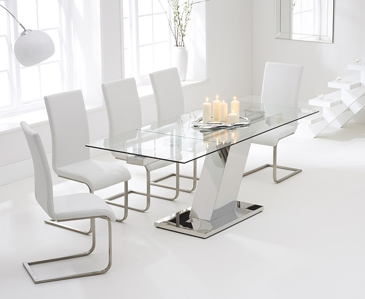 Conrad Glass 140Cm Extending Dining Set With 6 Boston Ivory White Chairs Inside Extending Dining Tables With 6 Chairs (View 20 of 25)