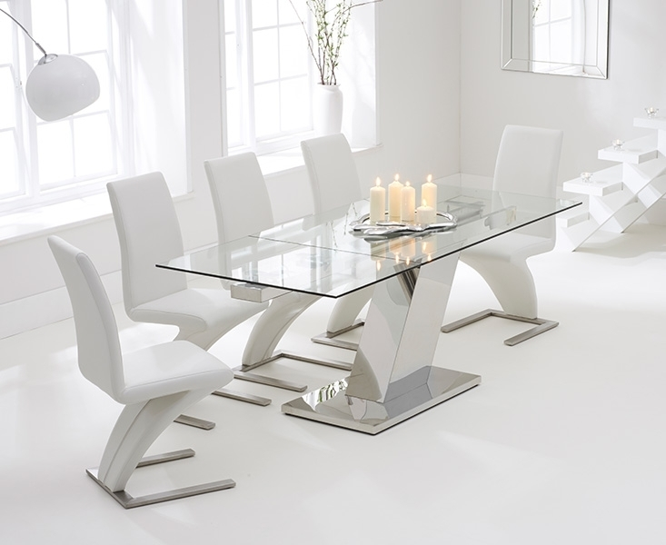 Conrad Glass 140Cm Extending Dining Set With 6 Fusion Z White Chairs With White Dining Tables And 6 Chairs (Image 6 of 25)