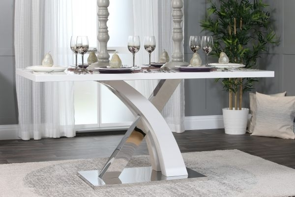 Contemporary 6 Seater Dining Table – Black White & Chrome | Furniturebox In Chrome Dining Tables (Image 8 of 25)