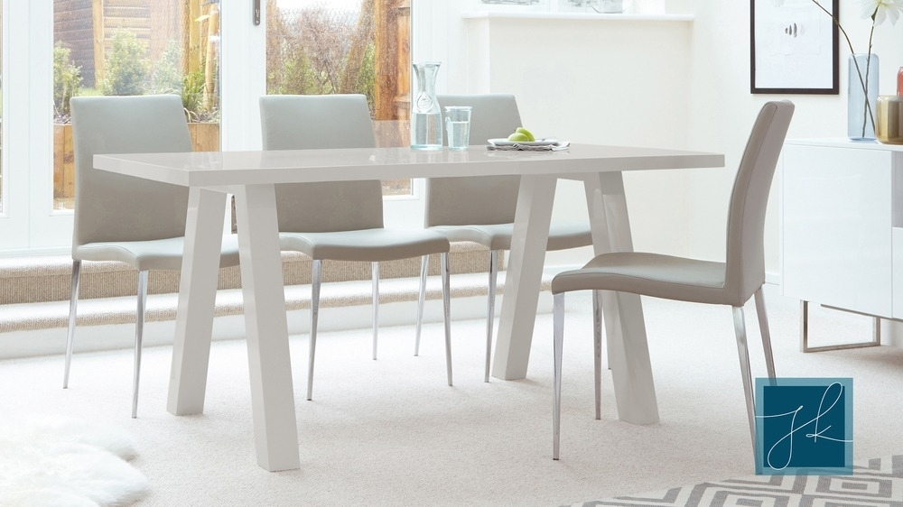 Contemporary 6 Seater Grey Gloss Dining Table | Uk Regarding Six Seater Dining Tables (Image 12 of 25)