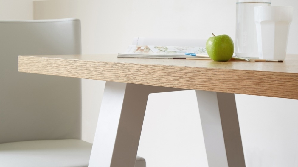 Contemporary 6 Seater Oak And Matt Grey Dining Table | Uk Inside Oak Dining Furniture (Image 2 of 25)