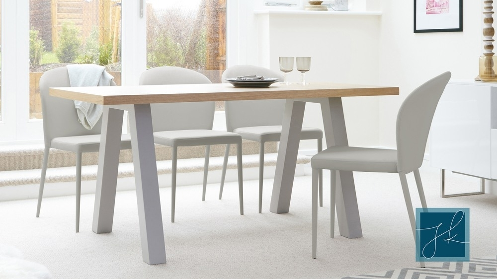 Contemporary 6 Seater Oak And Matt Grey Dining Table | Uk Throughout Oak 6 Seater Dining Tables (Image 16 of 25)