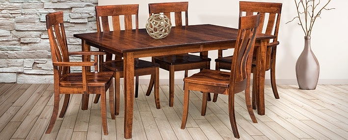Contemporary Amish Dining Room Sets – Amish Furniture | Cabinfield Intended For Chandler 7 Piece Extension Dining Sets With Fabric Side Chairs (Image 5 of 25)