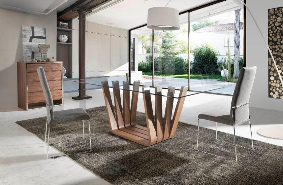Contemporary Arena Glass Top Dining Table With A Walnut Veneer Pertaining To Contemporary Base Dining Tables (Image 2 of 25)