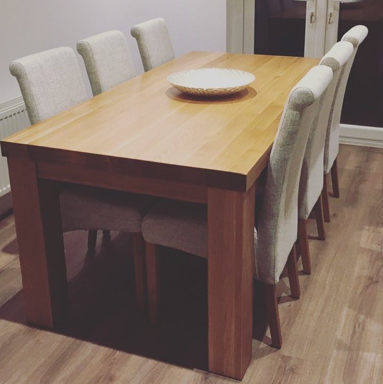 "Contemporary Chunky 5Ft X 2Ft 6"" Natural Solid Oak Dining Table From For Chunky Solid Oak Dining Tables And 6 Chairs (Image 9 of 25)"