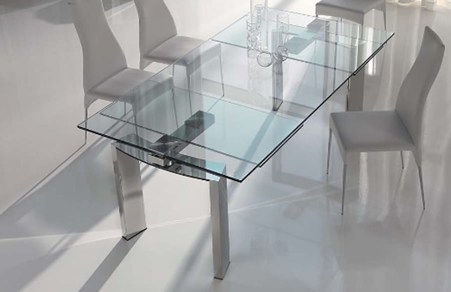 Contemporary Dining Furniture Design Ideas, Daytona Glass Extendable Intended For Glass Folding Dining Tables (Image 7 of 25)
