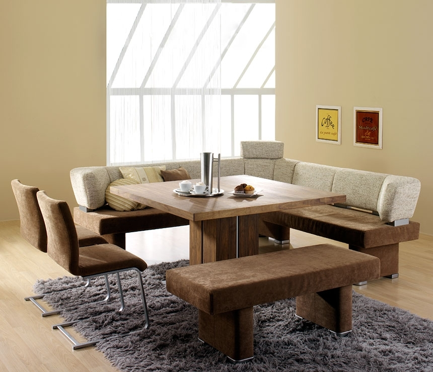 Contemporary Dining Room Design With Square Wooden Dining Room Within Small Dining Tables And Bench Sets (Image 8 of 25)
