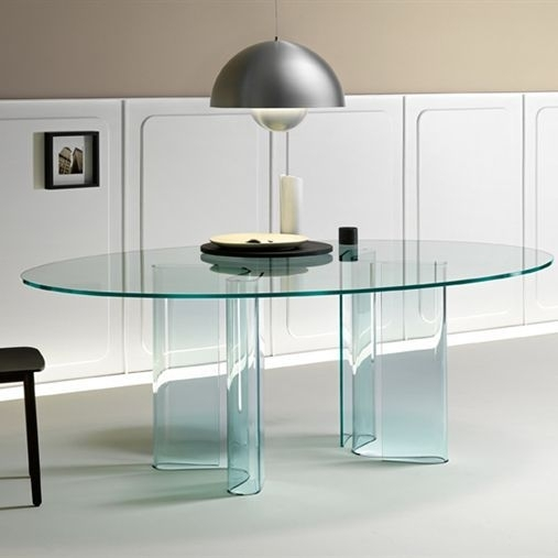 Contemporary Dining Table / Curved Glass / Oval / Curved – Sahara In Curved Glass Dining Tables (Image 6 of 25)