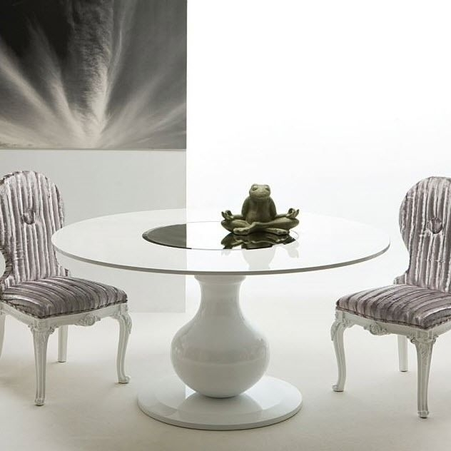 Contemporary Dining Table / Lacquered Wood / Round / White – Elio Cr For Round White Dining Tables (Image 4 of 25)