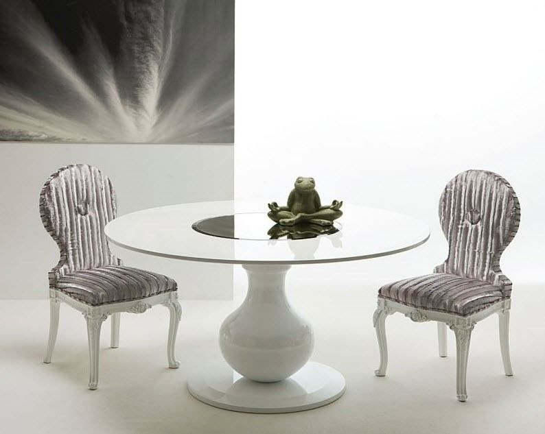Contemporary Dining Table / Lacquered Wood / Round / White – Elio Cr Intended For White Circle Dining Tables (Image 5 of 25)