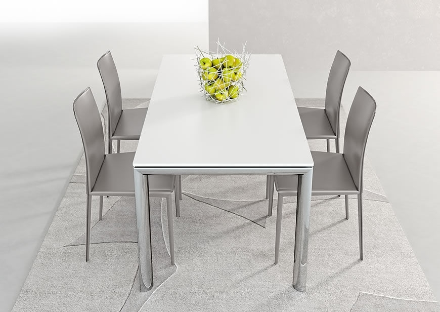 Contemporary Dining Table / Metal / Stained Wood / Melamine – Trilo Throughout White Melamine Dining Tables (View 5 of 25)