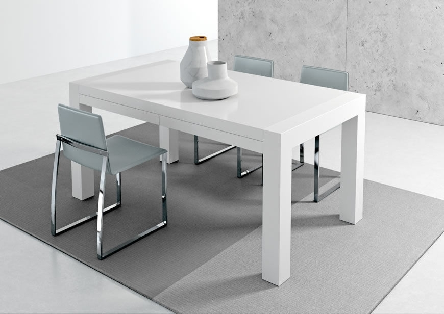 Contemporary Dining Table / Metal / Stained Wood / Melamine – Vuelta Inside White Melamine Dining Tables (Image 8 of 25)