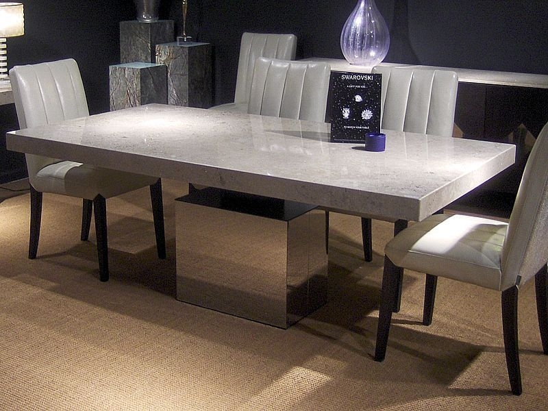 Contemporary Dining Table / Polished Stainless Steel / Marble Intended For Stone Dining Tables (View 3 of 25)