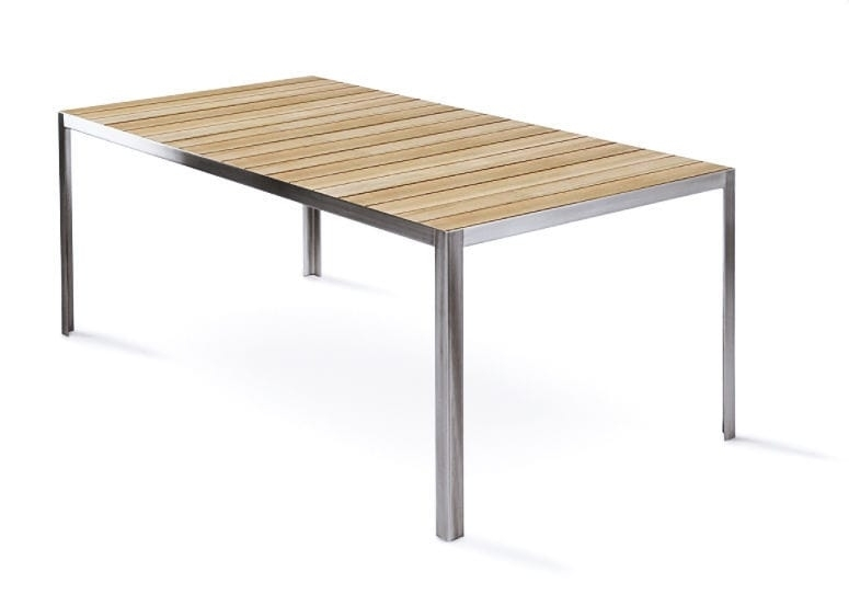 Contemporary Dining Table / Teak / Brushed Metal / Chrome Steel Pertaining To Brushed Metal Dining Tables (Image 4 of 25)