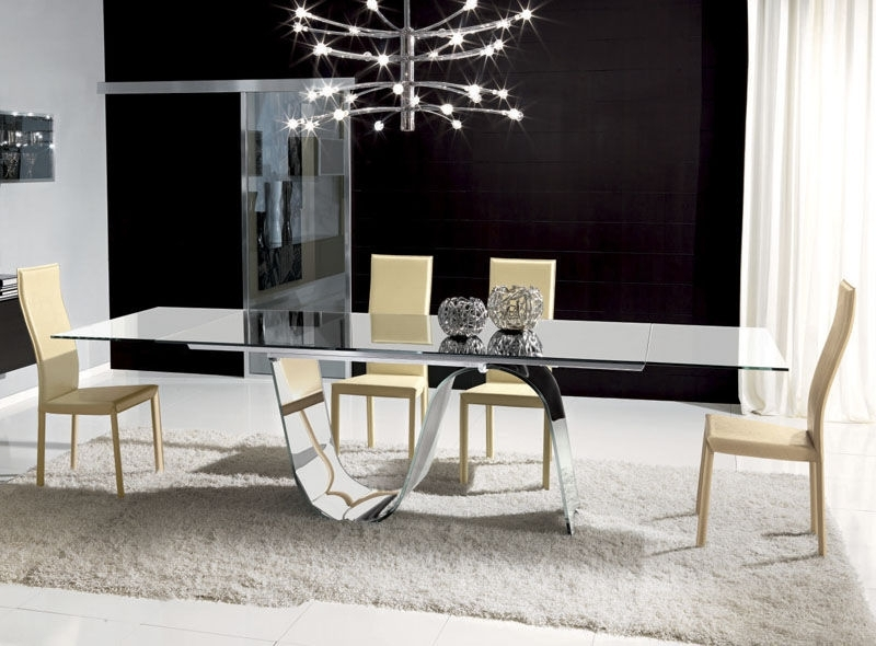 Contemporary Dining Table / Tempered Glass / Rectangular / Extending With Extending Rectangular Dining Tables (Image 6 of 25)