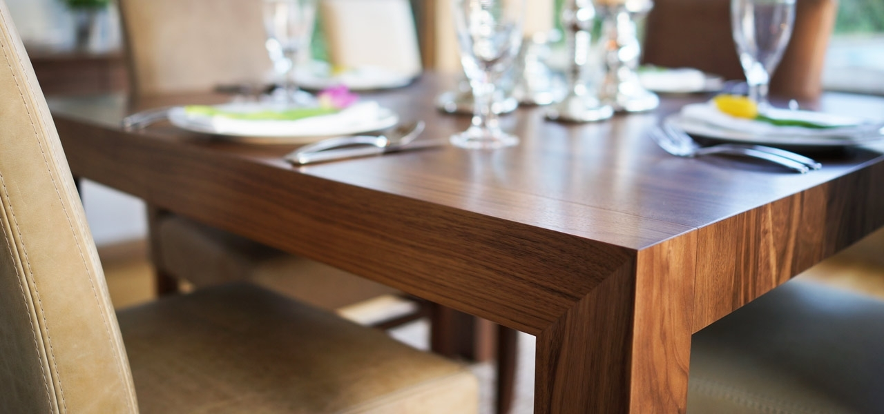 Contemporary Dining Tables Oak & Walnut | Bespoke Contemporary Tables Intended For Contemporary Dining Tables (Image 10 of 25)
