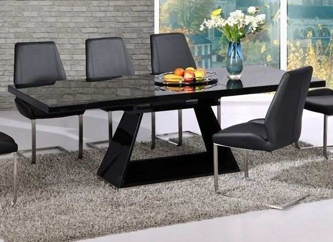 Contemporary Extendable Dining Room Table Unique Modern Black High For Black Extending Dining Tables (Image 8 of 25)