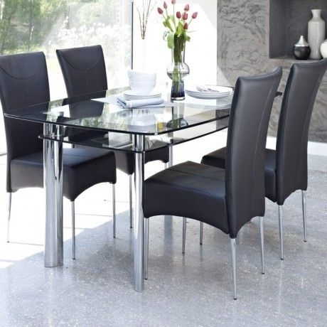 Contemporary Glass Dining Table Design Come With 2 Tier To Storage Throughout Candice Ii 7 Piece Extension Rectangular Dining Sets With Uph Side Chairs (View 12 of 25)