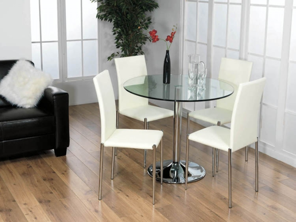 Contemporary Glass Kitchen Table Sets — Batchelor Resort Home Ideas Within Glass Dining Tables Sets (Image 6 of 25)