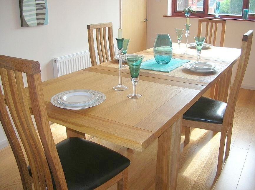 Contemporary Oak Dining Table Sets | Tallinn Tutbury Regarding Oak Extending Dining Tables Sets (Image 8 of 25)