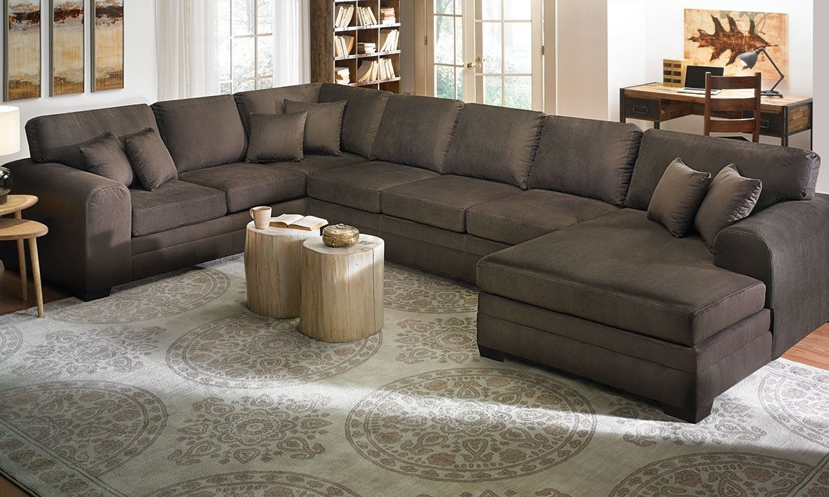 Contemporary Room Size Chaise Sectional | The Dump Luxe Furniture Outlet With Regard To Norfolk Chocolate 6 Piece Sectionals With Raf Chaise (Image 4 of 25)