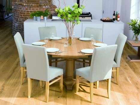 Contemporary Round Dining Table | Round Extending Dining Tables In Extended Round Dining Tables (Image 6 of 25)