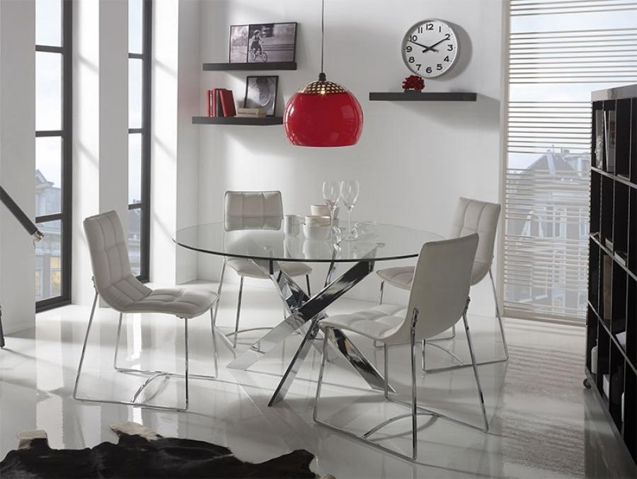 Contemporary Round Glass Ruth Dining Table/ Choice Of Chrome Or Within Chrome Dining Room Sets (Image 9 of 25)