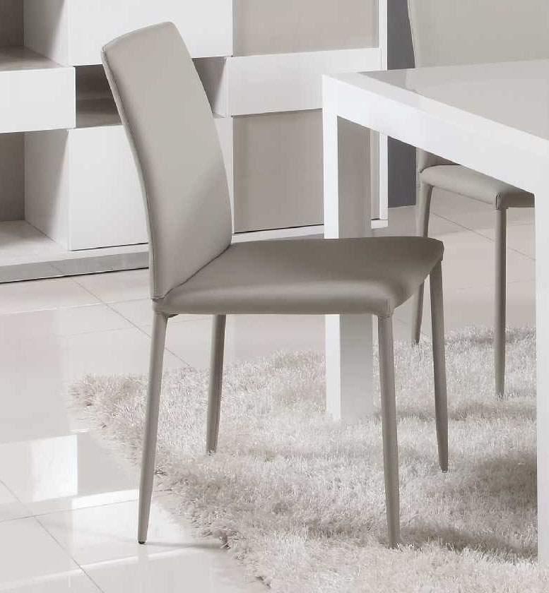 Contemporary Simple Italian Design Leather Dining Chair In Grey In Grey Leather Dining Chairs (Image 3 of 25)