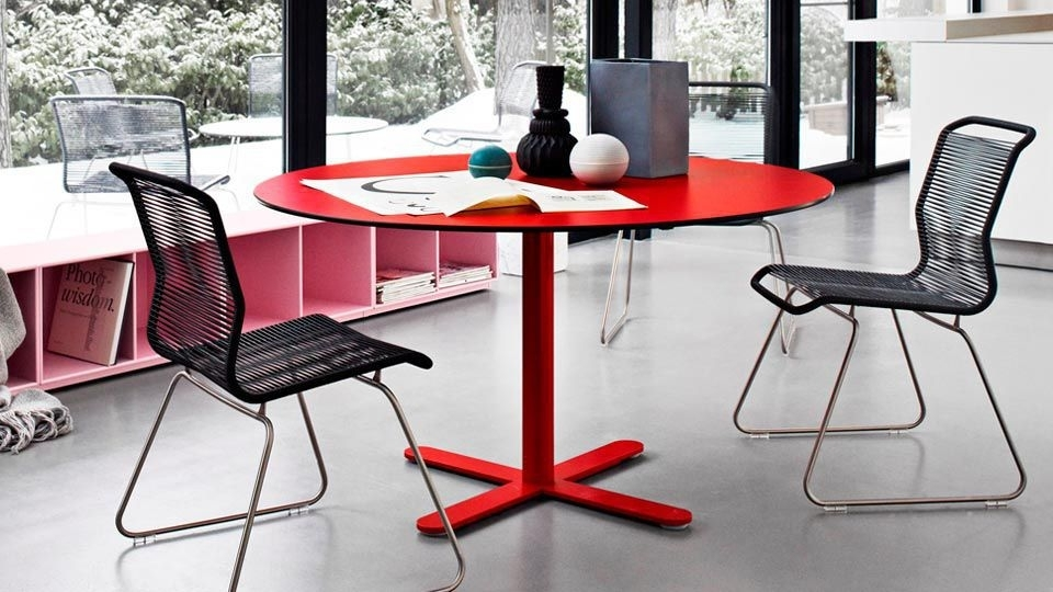 Contemporary Table / Laminate / Aluminum / Round – Multi Cafe With Regard To Lassen Round Dining Tables (Image 6 of 25)