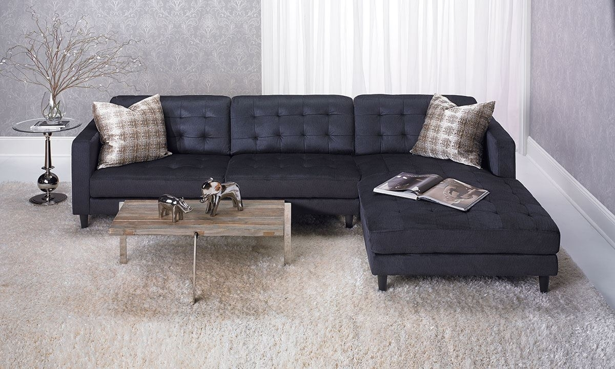 Contemporary Tufted Sofa With Oversized Chaise In Dark Grey | The In Norfolk Grey 6 Piece Sectionals With Laf Chaise (Image 6 of 25)