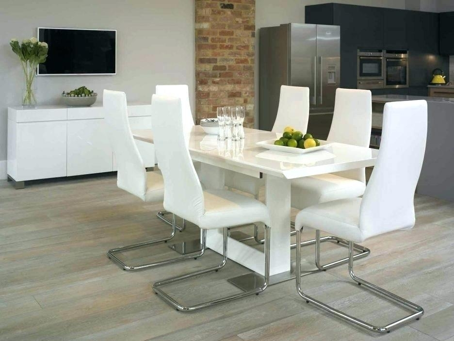 Contemporary White Leather Dining Room Chairs Modern Table And Chair Intended For White Leather Dining Room Chairs (Image 4 of 25)