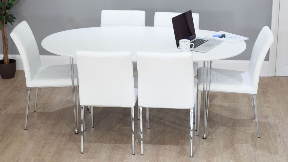 Contemporary White Round Double Extending Dining Set | Ev Için Throughout White Oval Extending Dining Tables (Image 7 of 25)
