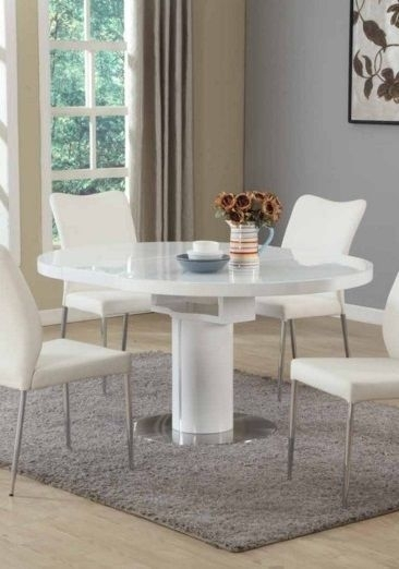 Contemporary White Round Extendable Dining Table #modern | Furniture Throughout White Round Extendable Dining Tables (Image 6 of 25)