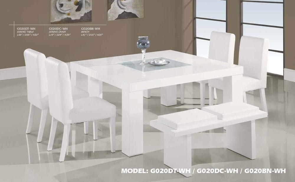 Contemporary White Wood Middle Frosted Glass Dining Table Set Within White Glass Dining Tables And Chairs (Image 8 of 25)