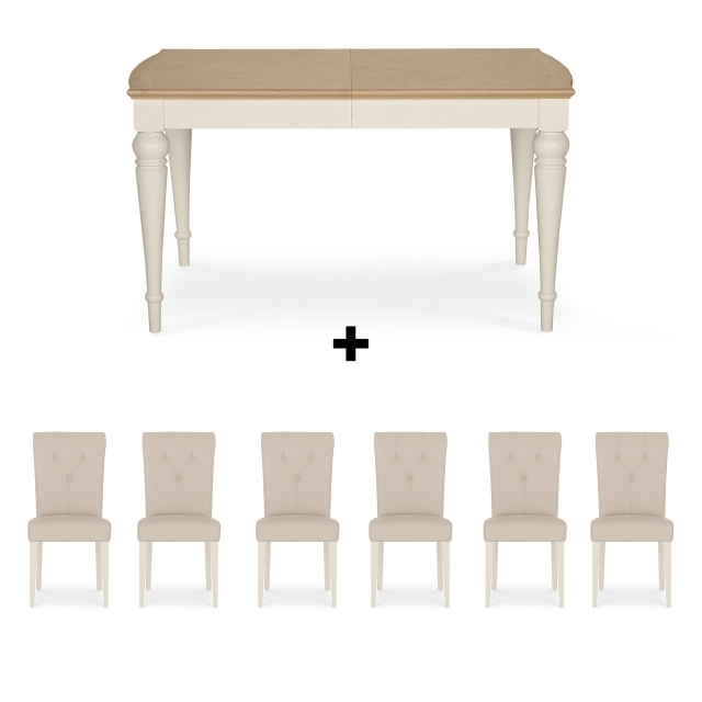 Cookes Collection Geneva Oak And Antique White Dining Table And 6 With Regard To White Dining Tables With 6 Chairs (Image 8 of 25)