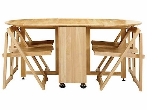 Cool Collapsible Dining Table – Youtube With Wood Folding Dining Tables (Image 7 of 25)