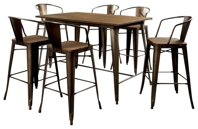 Cooper 5 Piece Metal Counter Dining Table Set – Rustic – Dining Sets Throughout Cooper Dining Tables (Image 6 of 25)