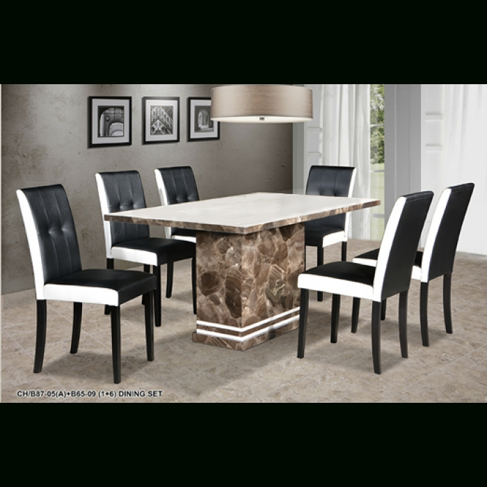 Copa 1+6 Marble Dining Set Inside Marble Dining Chairs (Image 10 of 25)